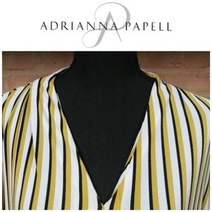 Adriana Papell   V-Neck Striped Blouse